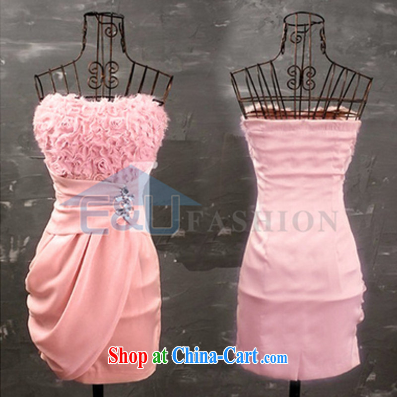 Hin-fly 2015 summer women new pink three-dimensional roses sexy cute wipe chest skirt small dress B 1240 pink are code