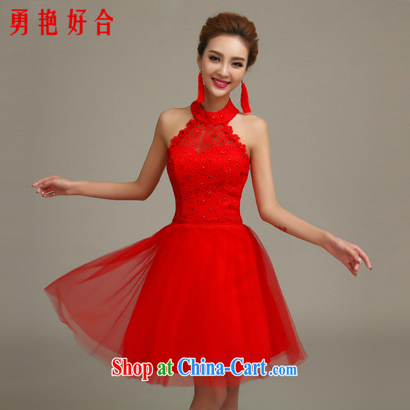 Yong-yan and 2015 new bride's toast serving evening dress spring and summer is also red long marriage, Uganda small dress shaggy dress red long M, Yong-yan good offices, shopping on the Internet