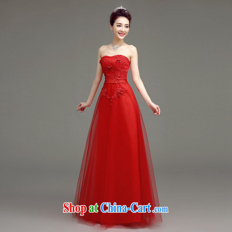 In accordance with long-sleeved shirts in the summer 2015 new wedding dresses bridal toast serving Korean Beauty long stylish Mary Magdalene marriage chest dress red xxl