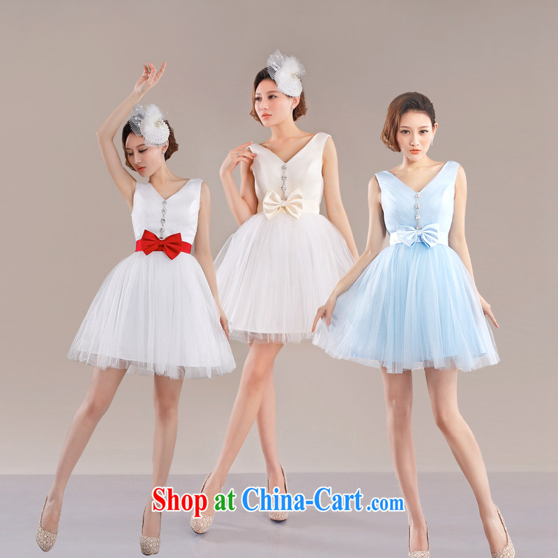 Beijing, Hong Kong, 2015 -- cultivating small dress short shaggy dress summer dresses shoulders short skirt bridesmaid dresses in spring and summer girls XXL