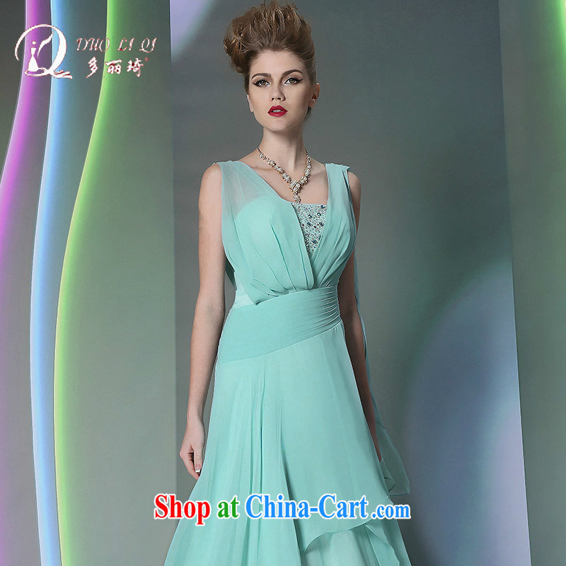 More LAI Ki Europe Evening Dress 2014 multi-lai Ki green silk elegant long dress light blue XL