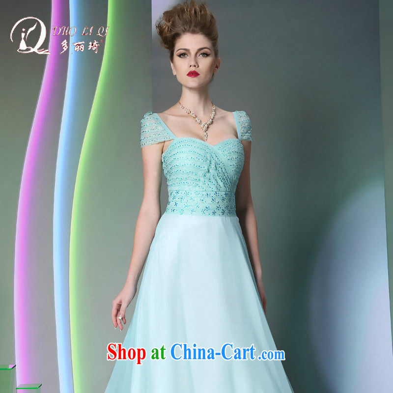 Multi-LAI Ki blue 2014 multi-Lai Ki long dual-shoulder annual reception banquet dress autumn and winter new dress light blue XXL