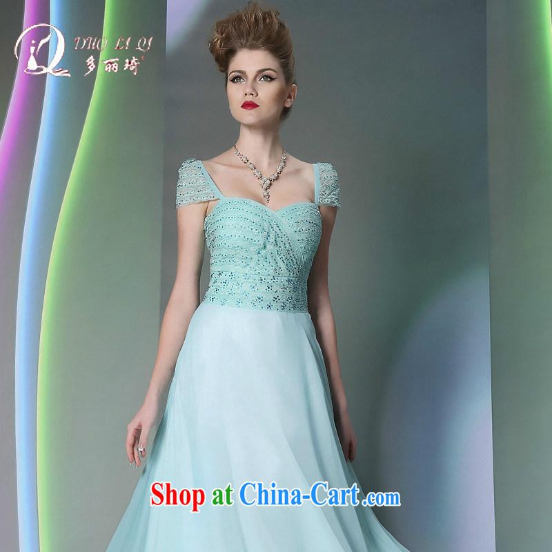 Multi-LAI Ki blue 2014 multi-Lai Ki long dual-shoulder Annual Meeting reception banquet dress fall and winter new dress light blue XXL, Li Qi (Doris dress), and, on-line shopping