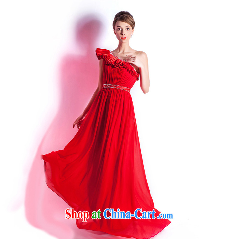 The Champs Elysees, as soon as possible, new pre-sales of single shoulder red long wedding dress bridal toast serving dinner hosted reception wedding Evening Dress red XXL