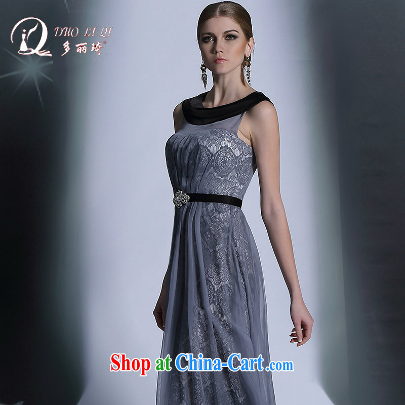 Doris Kay Europe evening dress with high quality gray high waist long evening dress professional dress light gray L, Lai Ki (Doris dress), online shopping