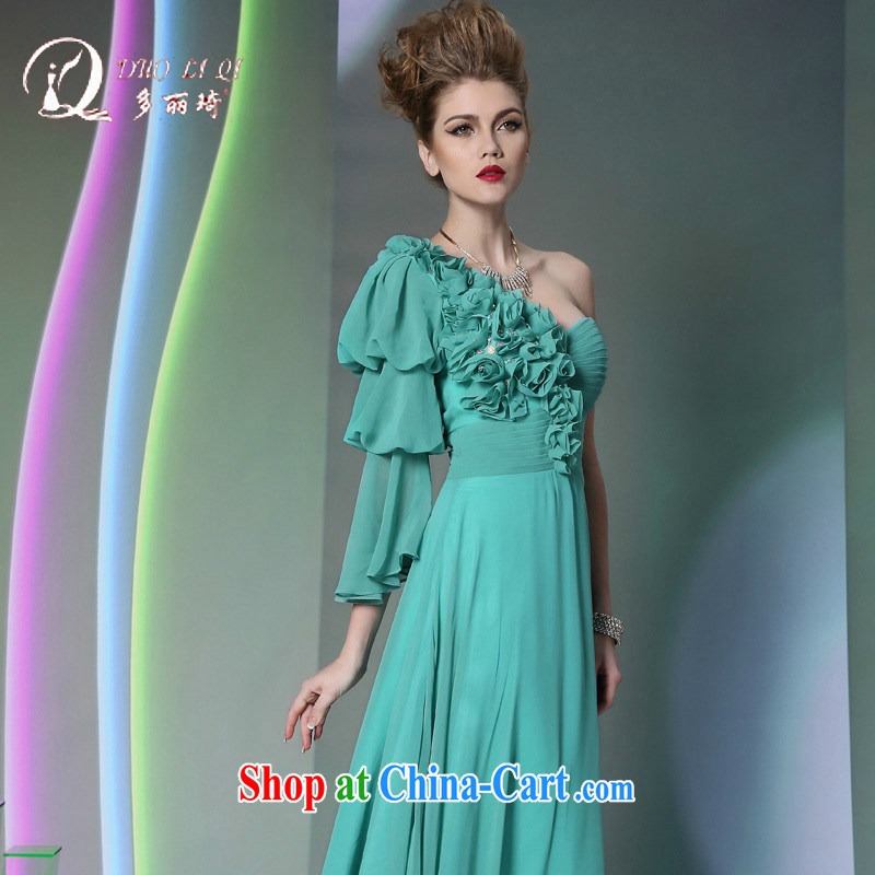 More LAI Ki Europe Evening Dress Green single shoulder snow woven High sense for 2014 new wedding dresses blue XXL