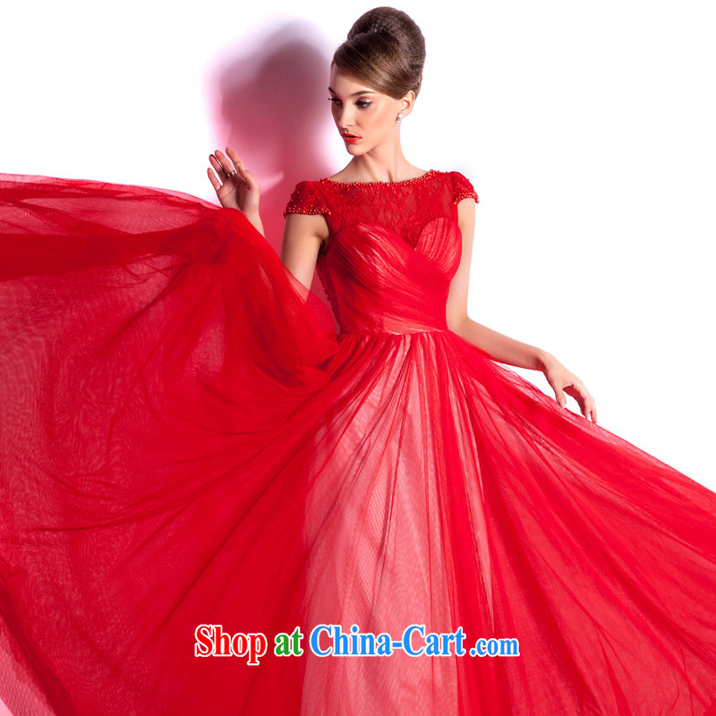 The Champs Elysees, as soon as possible, and Stylish spring and summer bridal red toast serving long 2015 New Evening dress, elegant and a shoulder Evening Dress red XXL
