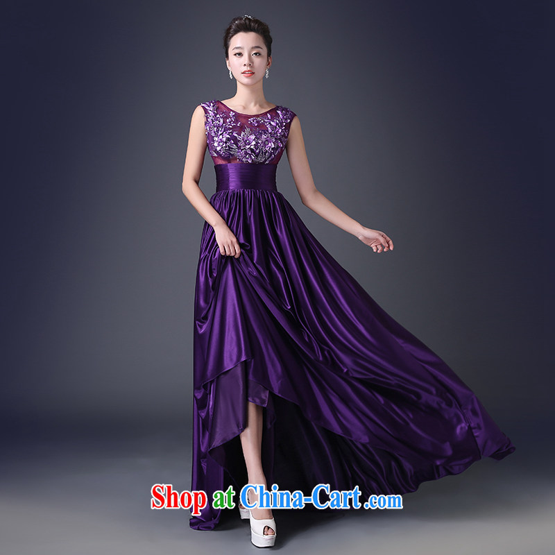 Code Hang Seng bridal 2015 long gown evening dress in Europe stylish lace dress a field shoulder bows. Elections and half, three-dimensional flowers, good quality fabrics -- purple XXL