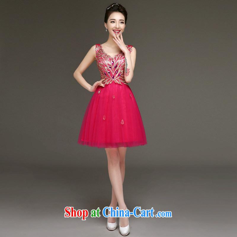 Serving a good solid Evening Dress 2015 new bride toast serving spring bridesmaid dresses short dresses small girl bridesmaid dress of red 2 XL