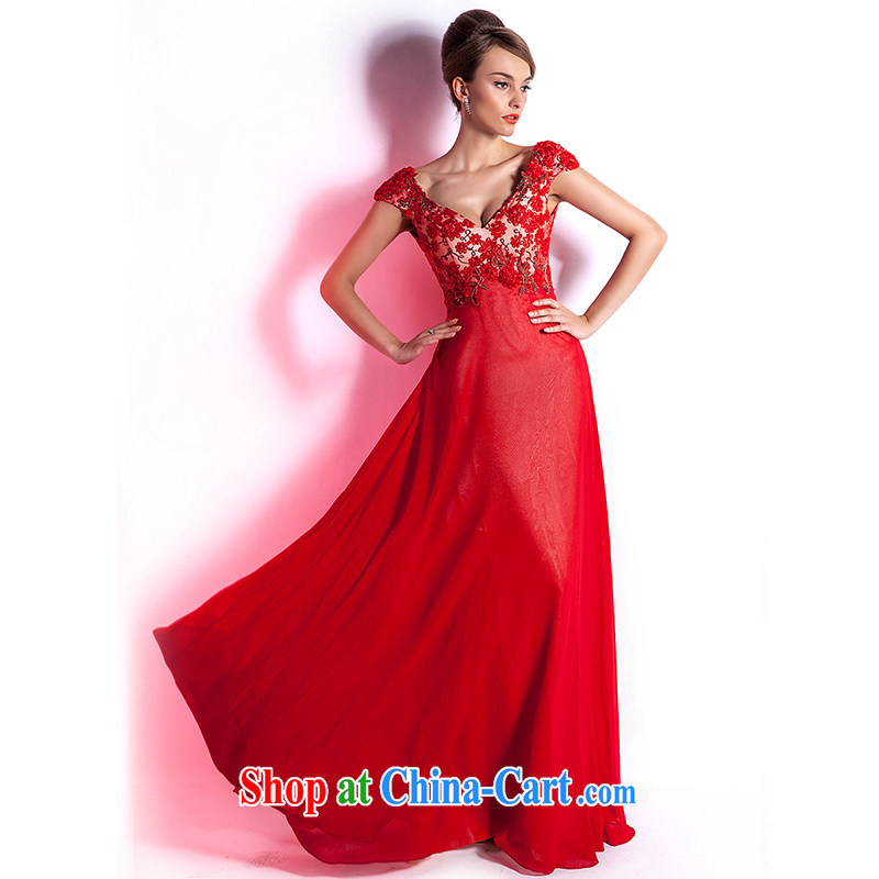 (Hong Kong, health, wedding dresses 2015 new upscale wedding dress bridal toast wedding serving long, large, red, Evening Dress red XXL