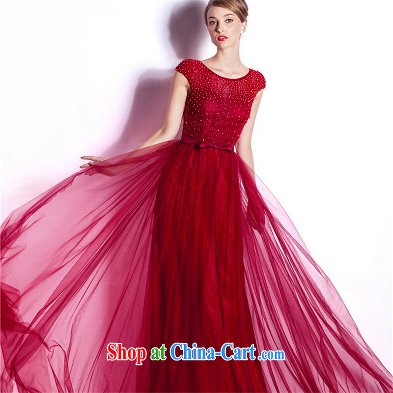 The Champs Elysees, as soon as possible, new bride toast serving American and European high-end dress long-field shoulder evening dress party party wedding dress skirt wine red XXL