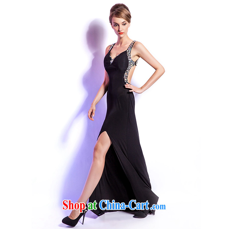 Beijing, Hong Kong, Europe and North America -- stylish terrace open back the truck black Evening Dress long, banquet chair sense humanity at the annual dance night walk-soo XXL