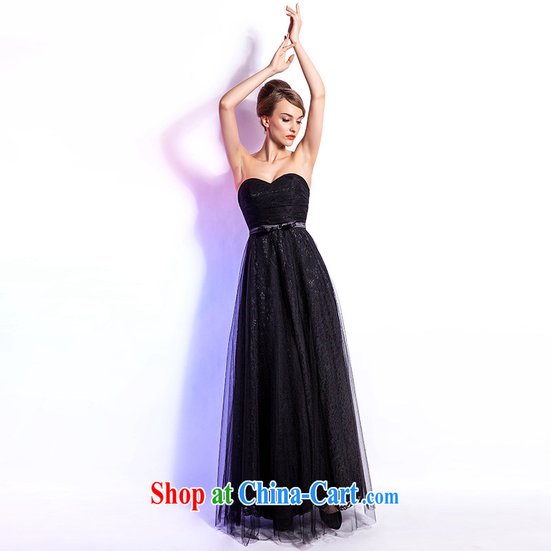Beijing, Hong Kong, 2015 as soon as possible new European and American Standard dress black smears chest long evening dress annual meeting moderator for the party long skirt XXL