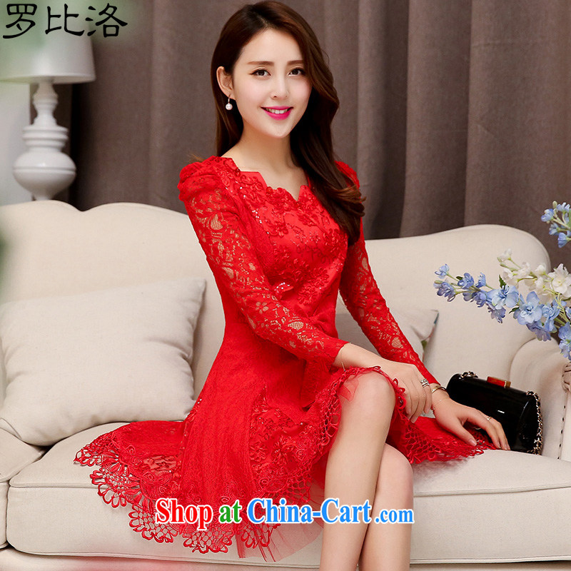 NAIROBI, 2015 spring big red dress uniform toast girl lace beauty bridal wedding dress back door service LF 009 red XL