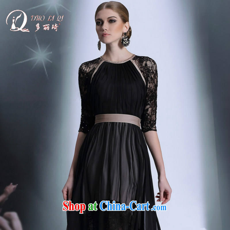 Multi-LAI Ki Europe evening dress, cuff lace Evening Dress black back exposed sexy evening dress up show host dress black XXL