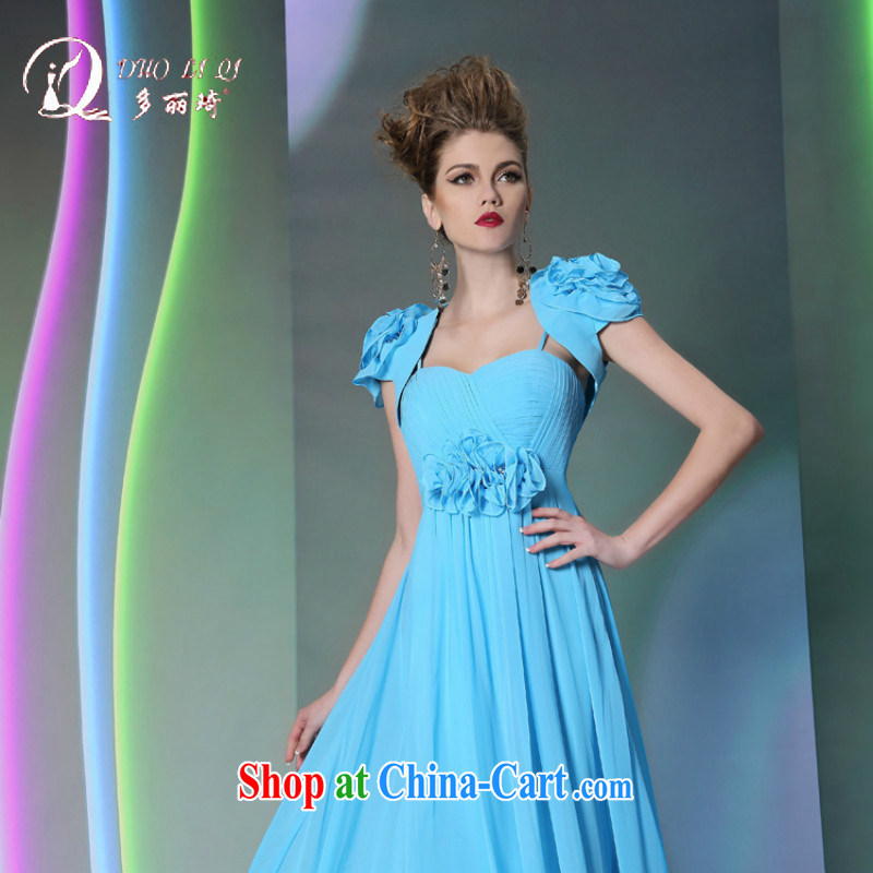 Multi-LAI Ki retro noble blue show choir dress evening dress autumn and winter new light blue XXL