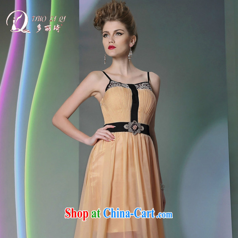 More than Li Qi 2014 evening dress more LAI Ki straps fluoroscopy Evening Dress yellow beauty dresses annual tea color L