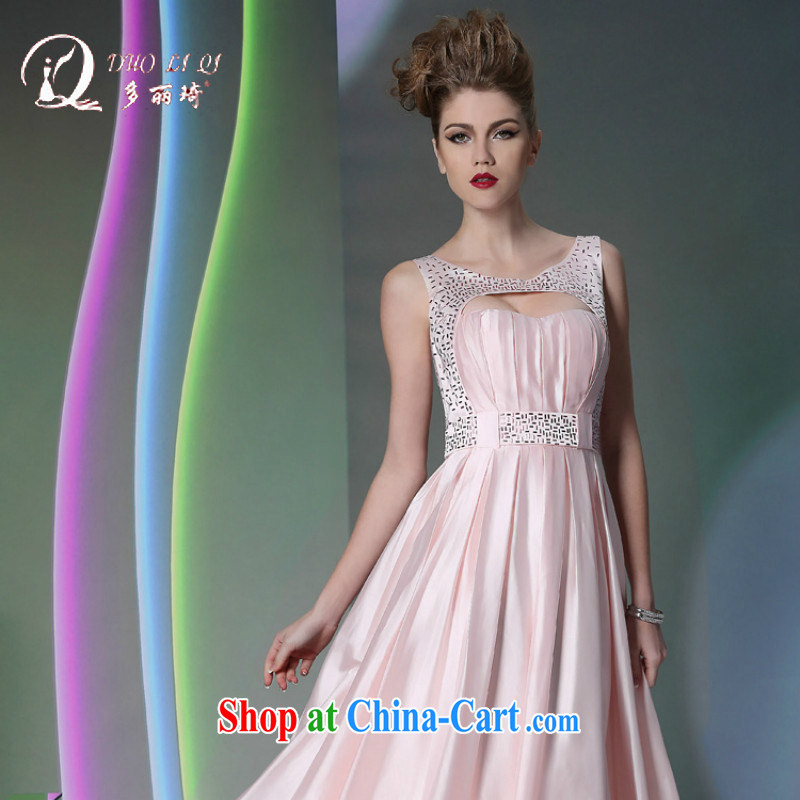 More LAI Ki 2014 standard will be the Evening Dress light pink Video white ladies dress long autumn and winter evening dress pink M