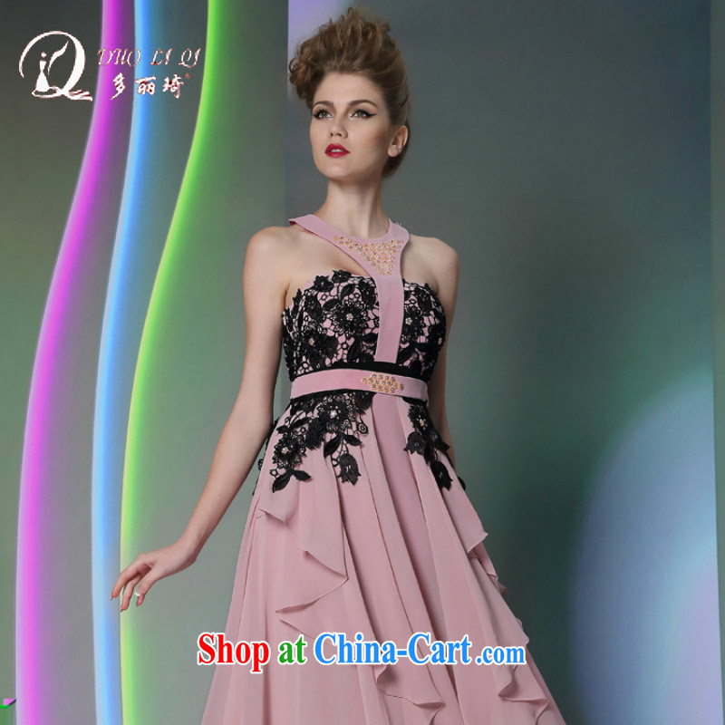 More LAI Ki Europe Evening Dress red carpet and dress in 2014, Qi new annual Christmas dress pink XXL