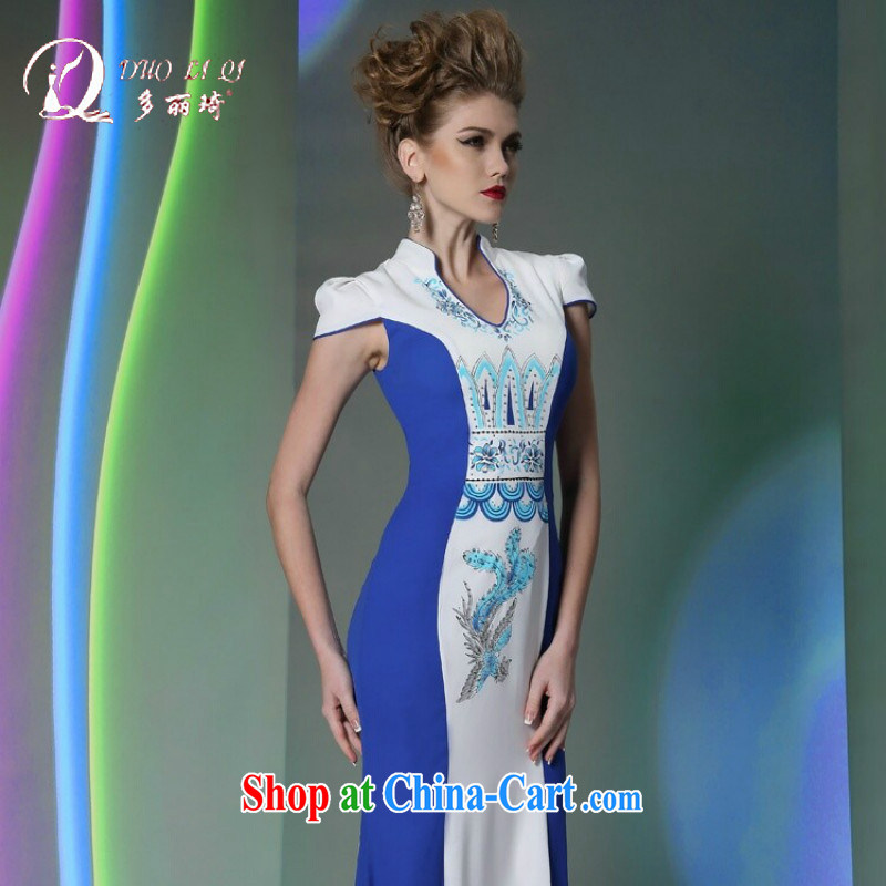 More LAI Ki classic qipao S curve dress dresses T go Sau model dress blue L