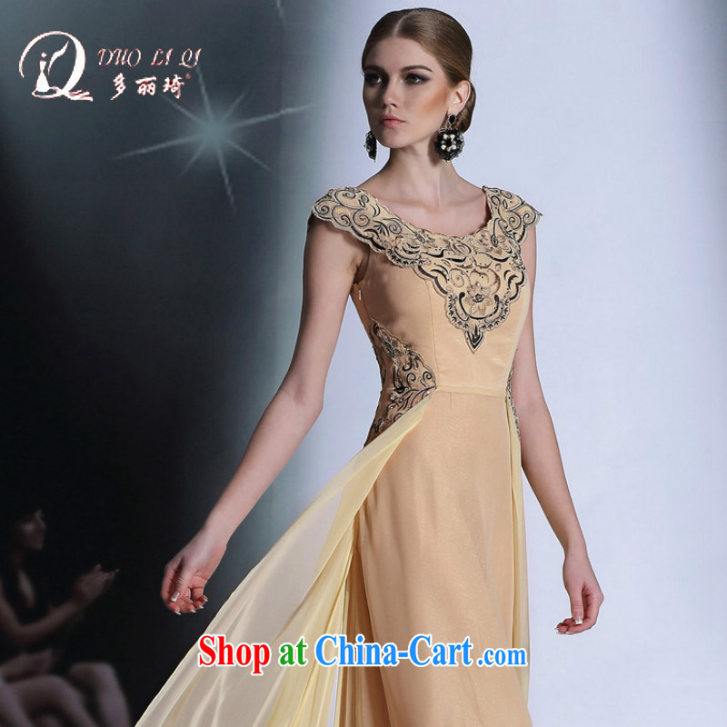 More LAI Ki yellow short-sleeved retro dress shot evening dress the code beauty bridesmaid dress pale yellow XXL