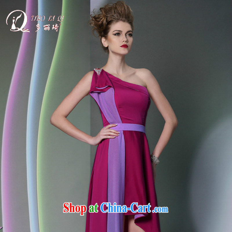 More LAI Ki mauve single shoulder style evening dress Red Carpet show dress long 2014 hot wedding dress purple XXL