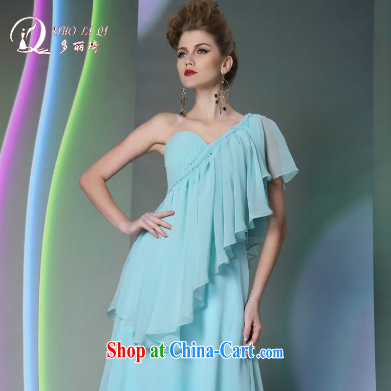 More LAI Ki Bohemia blue long evening dress 2014 show moderator dress autumn and winter dress blue XXL