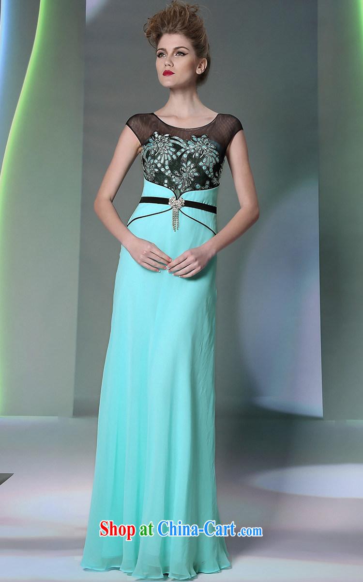 More LAI Ki blue package shoulder Evening Dress style beauty banquet ...