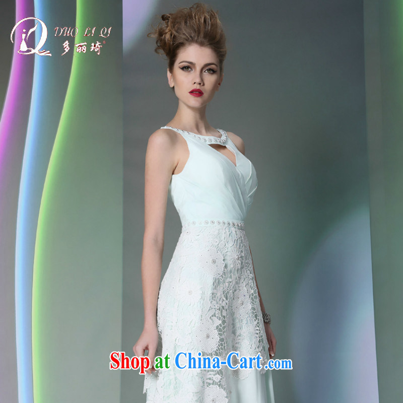 More LAI Ki Europe Evening Dress sexy light blue small terrace back Evening Dress blue L