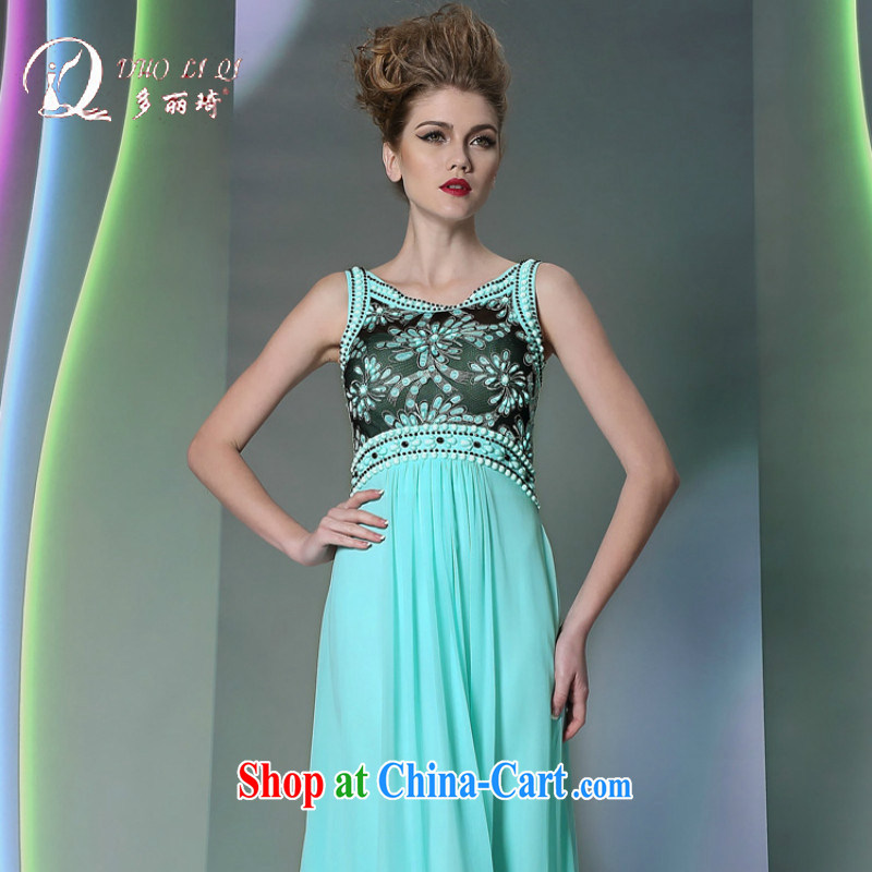 Multi-LAI Ki blue floral dress 2014 high waist bows service show the dress blue XXL