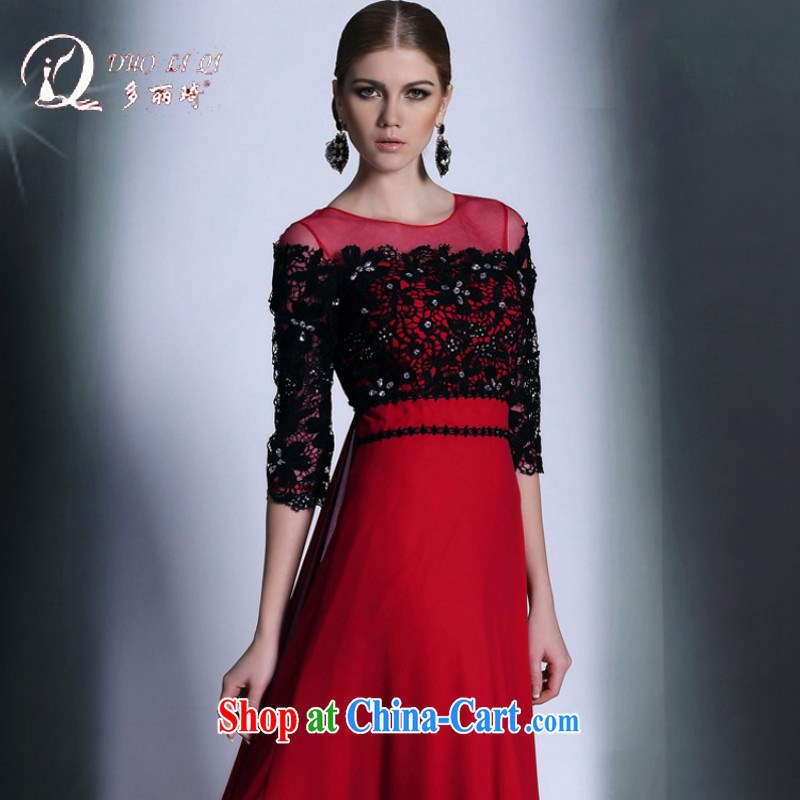 European and American dress and red and black color collision cuff in evening dress stylish european original dress toast winter clothing red XXL
