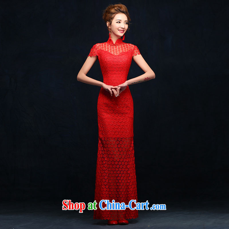 2015 new cheongsam dress Chinese wedding dress spring red lace retro improved bridal toast clothing red M