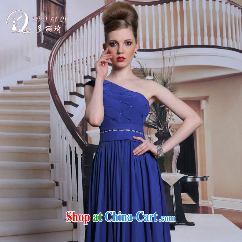 More LAI Ki-chun, royal blue single shoulder Evening Dress elegant minimalist A Field dress female zip waist in long skirt blue XXL