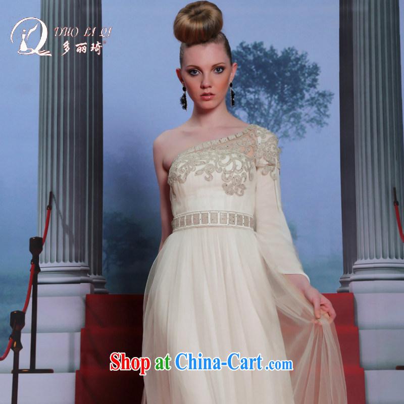 More LAI Ki ivory Evening Dress single shoulder embroidery fall long dress fluoro long skirt dress white XXL