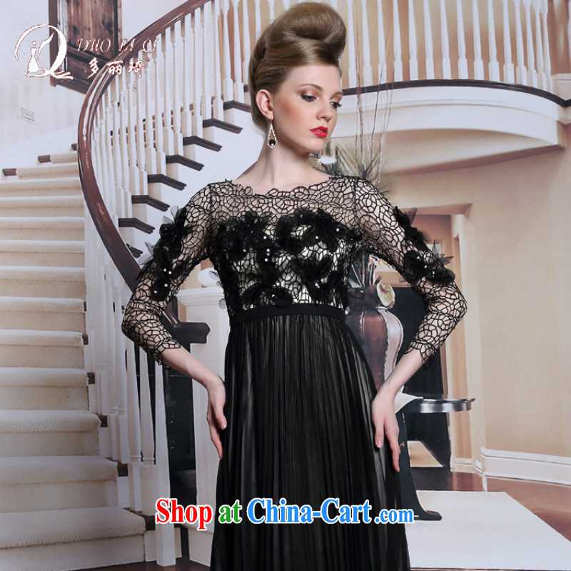 More LAI Ki new products in Europe and America dress black long sleeved Evening Dress Openwork flowers dinner with graphics thin dress black XXL