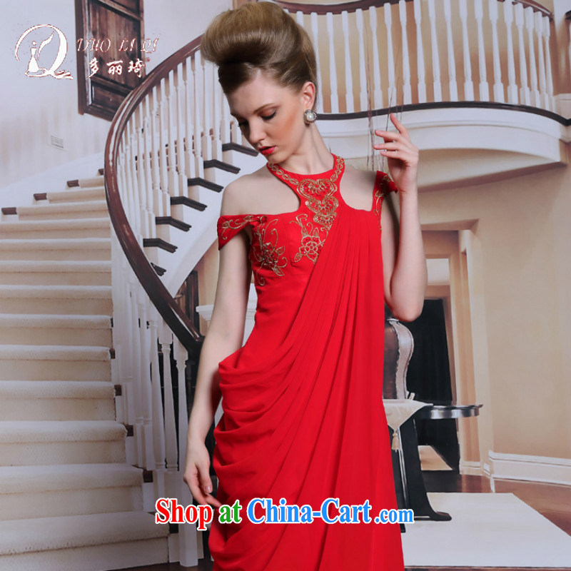 More LAI Ki red hang up also bridal evening dress retro embroidery wedding dress sexy beauty dress red XXL