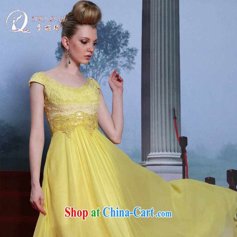 More LAI Ki dress yellow moderator dress embroidery high quality evening dress A field dress the dress code yellow M