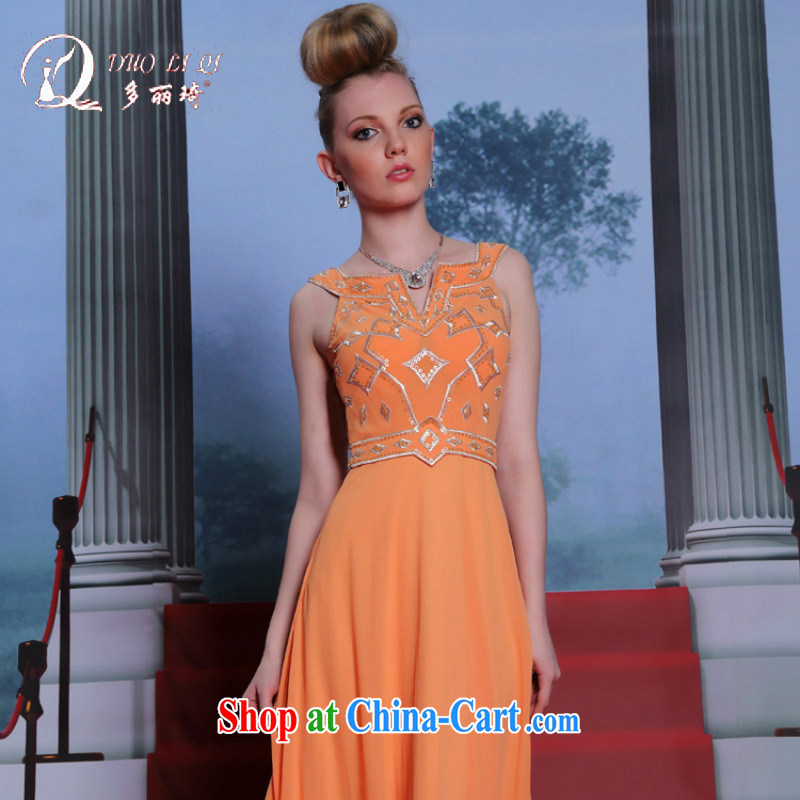 Multi-LAI Ki New Evening Dress orange retro dress model go show dress orange XXL