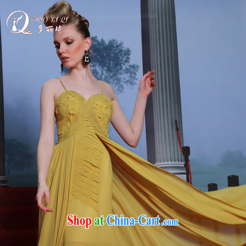 More LAI Ki 2014 European Dress Kang WONG Hung with manual take Europe's witty Evening Dress yellow XXL