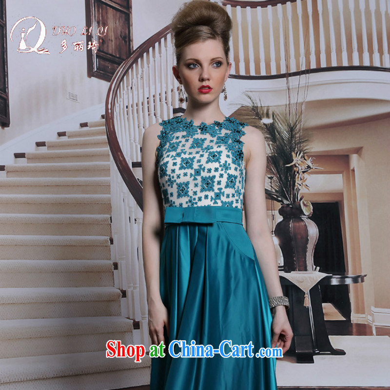 More LAI Ki Peacock Blue diamond jewelry dress snow woven bow tie, evening dress long evening dress dark blue XXL