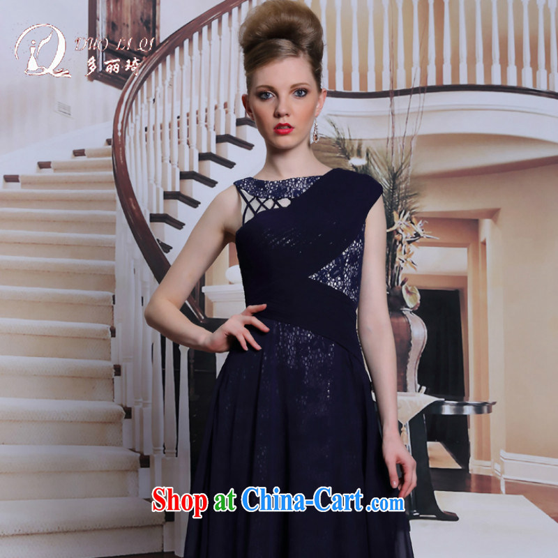 More LAI Ki Europe evening dress in blue waist graphics thin dress retro staple manually Pearl dresses high fall dinner black XXL
