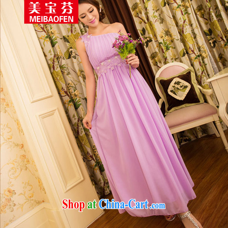 Mei-po, 2015 new sweet temperament OL banquet bridesmaid marriage a shoulder dresses girls skirts dress female violet L