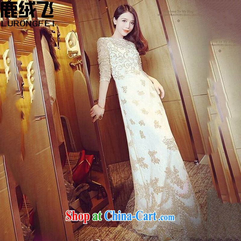 Lint-free cloth, The 2015 spring luxury of Yuan Palace, cultivating graphics thin lace dress retro dress long skirt, goddess picture color L