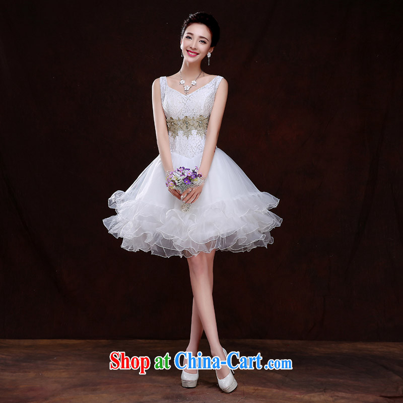 The china yarn bridal short wedding banquet dress bridesmaid serving short 2015 new spring and summer bridal wedding wedding dresses the dresses women Beauty white. size does not accept return