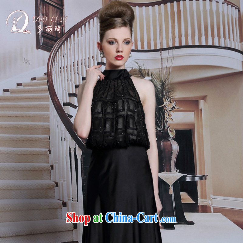 Multi-LAI Ki-also dress name Yuan Red Carpet evening dinner dress summer dress black dress black XXL