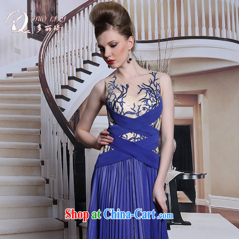 More LAI Ki dress blue Web dresses video thin A field staple Pearl evening dress in Europe evening dress blue XXL