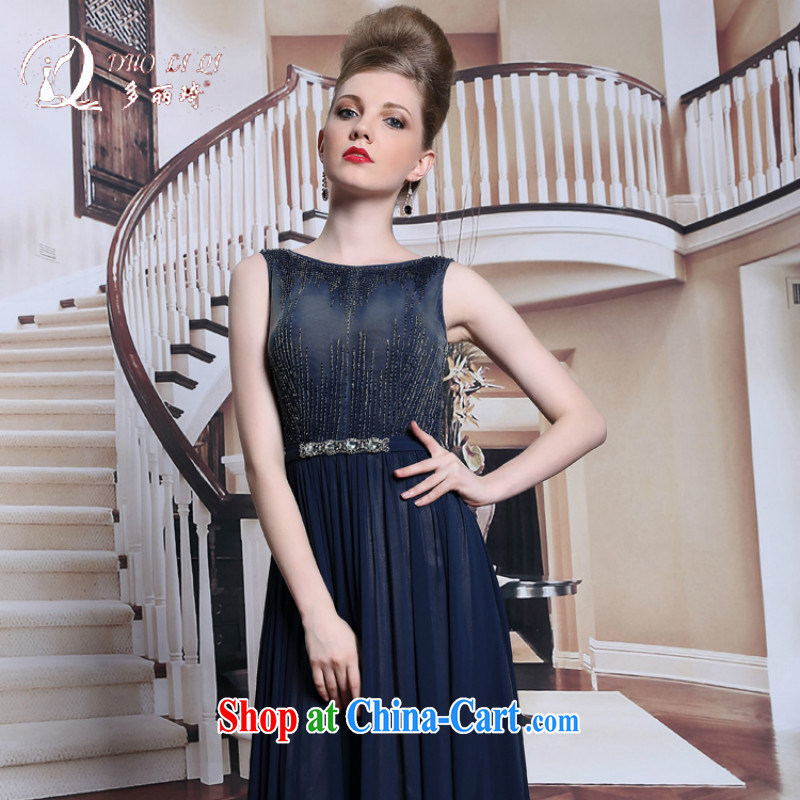More LAI Ki dark blue nails Pearl dress the Field shoulder adult appointments dresses summer 2014 in Europe dress dark blue S