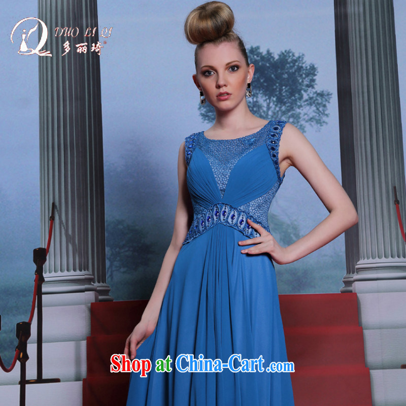 More LAI Ki sleeveless nails Pearl dress beauty appointments round collar dress summer new dress blue XXL