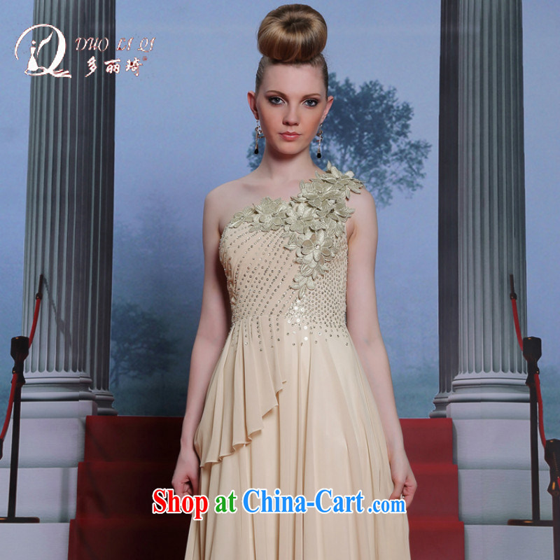 Multi-LAI Ki single shoulder retro dress A Field dress dresses beauty long female presiding over dress card its color XXL