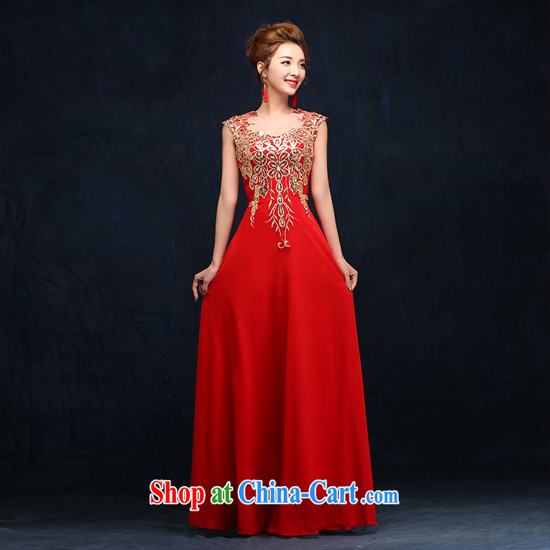 According to Lin Sa 2015 new bride toast serving red marriage wedding dresses beauty long marriage banquet dress red M